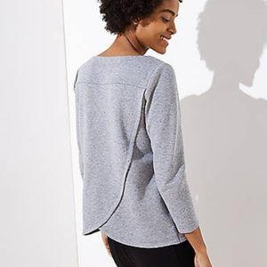 Flecked Crossover Back Sweatshirt Gray NWT